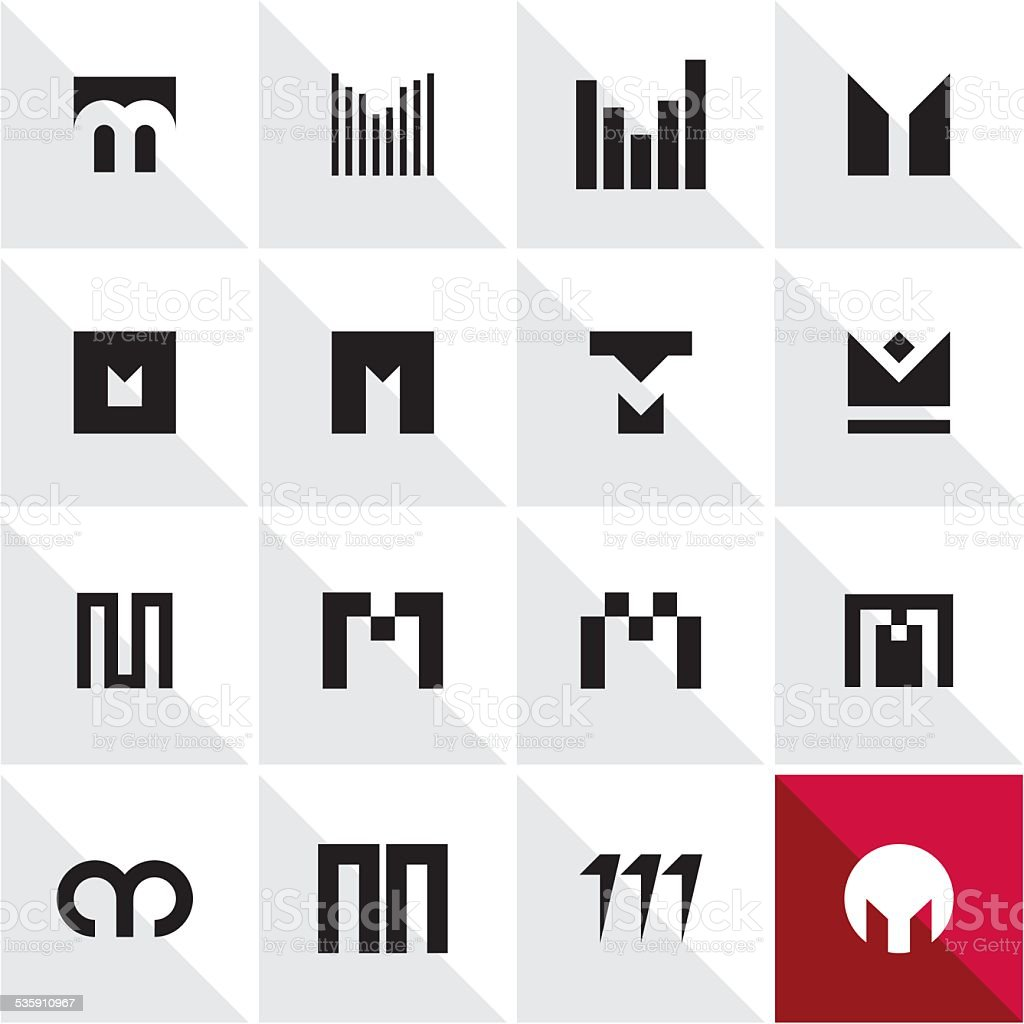 abstract icons letter M vector art illustration