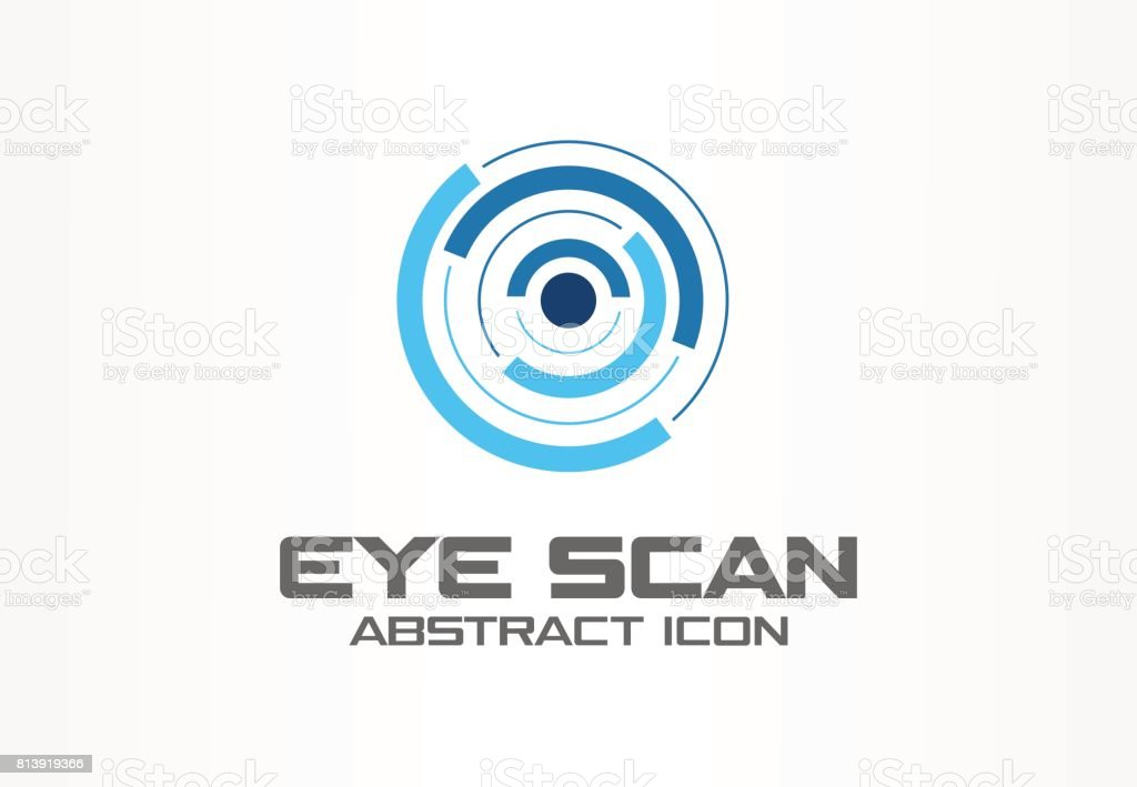 Abstract idea for business company. Corporate identity design element. Retina circle scanner, personality eye identification, iris id lock symbol. vector art illustration