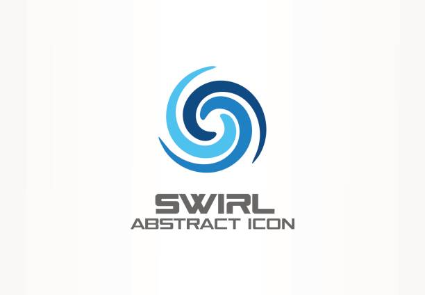 abstract idea for business company. eco, nature, whirlpool, spa, aqua swirl symbol. water spiral, blue circle three segment mix concept. colorful vector icon - spiral stock illustrations