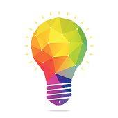 Light bulb polygonal geometric figure.