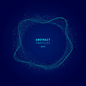 Abstract illuminated blue circle shape of particles array on dark background Technology concept. Digital explosion. Futuristic vector illustration