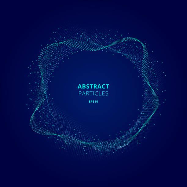 在暗背景技術概念上,粒子陣列的抽象發光藍色圓形。數位爆炸。 - 粒子 幅插畫檔、美工圖案、卡通及圖標