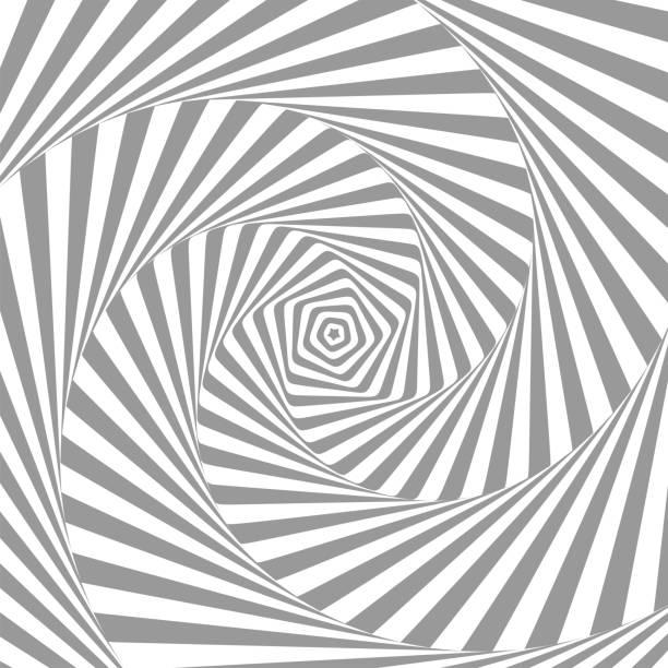 Abstrakte Illusion in Bewegung. Hypnotisches Schwarzweißelement . optische täuschung. Vektor. EPS10 – Vektorgrafik