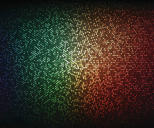 Abstract illustration. Glowing mosaic of circles on dark background Abstract vector background. Glowing mosaic of circles on the dark green-red background. Halftone effect disco lights stock illustrations