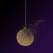 Abstract illustration of a Christmas decoration ball consisting of points and particles. Golden New Year symbol.