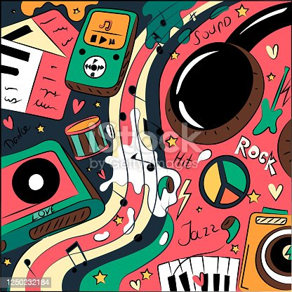 istock Abstract illustration of a doodling on the theme of music. Rock, pop, jazz, headphones and cassette. 1250232184