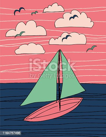 Abstract Illustration Of A Sailboat On The Ocean