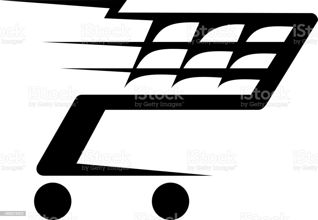 Abstract illustration of a shopping cart moving royalty-free abstract illustration of a shopping cart moving stock vector art & more images of basket