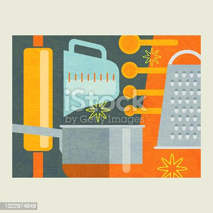 Abstract illustration of cooking tools for baking and food preparation.