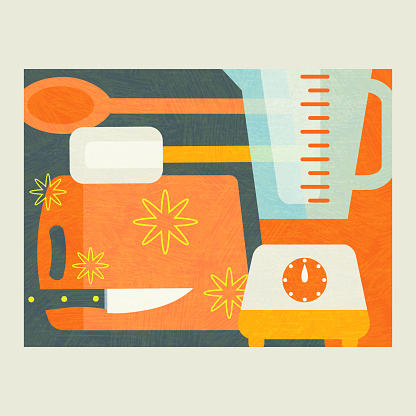 Abstract illustration of cooking tools for food preparation. Modern culinary theme vector illustration