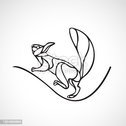 istock Abstract illustration of squirrel. Outline wavy squirrel vector 1304693883