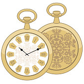 Abstract illustration of vintage round pocket watch. Business style. Men's golden clock fashion. Business. Isolate on white background. Flat vector illustration