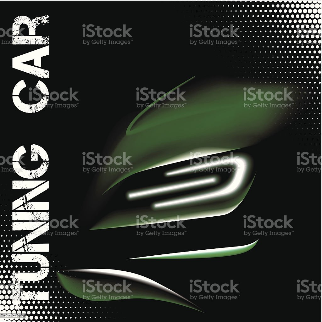 Abstract illustration with green tuning sports car vector art illustration