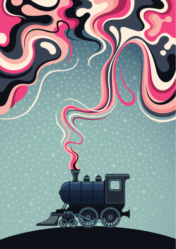 Abstract illustration with old locomotive.