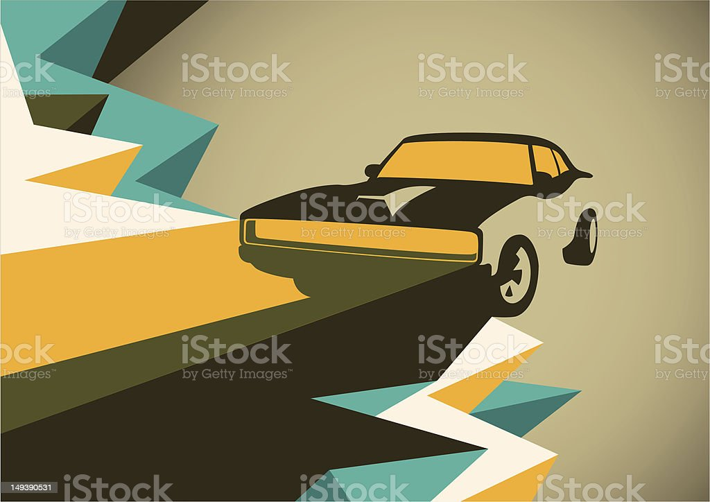 Abstract illustration with retro car. royalty-free stock vector art