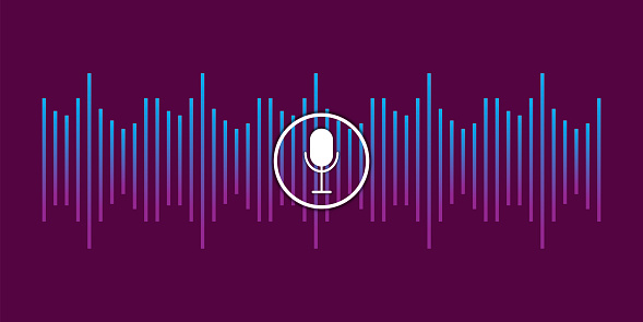 Abstract illustration with voice recording microphone wave for concept design. Future technology concept. Stock image. EPS 10.