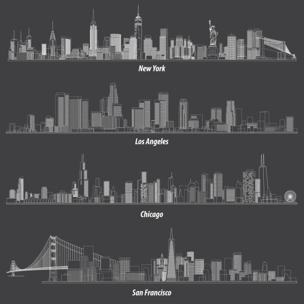 abstract illustrations of United States outlines city skylines abstract illustrations of United States outlines city skylines chicago stock illustrations