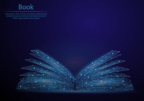 ilustrações, clipart, desenhos animados e ícones de livro abstrato da imagem a forma de um céu ou de um espaço estrelado, consistindo nos pontos, nas linhas, e nas formas a forma dos planetas, das estrelas e do universo. baixo fundo poli do vetor. - bibliotecas