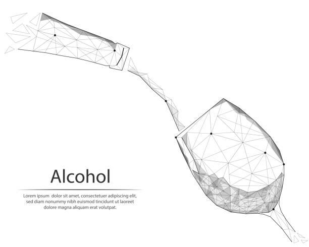 abstraktes bild flasche und glas wein in form von linien und punkten, bestehend aus dreiecken und geometrischen formen. low-poly-vektor-hintergrund. - hochschulgetränke stock-grafiken, -clipart, -cartoons und -symbole