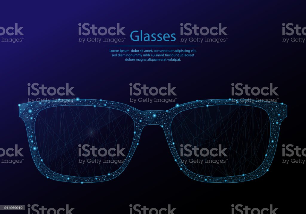 Abstract image glasses's in the form of constellations and starry sky, consisting of points and lines. vector art illustration