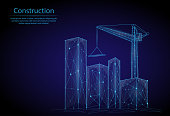 Abstract image growing city in the form of a starry sky or space, consisting of points, lines, and shapes. 3D Low poly vector background. Construction of city, house, elevating crane