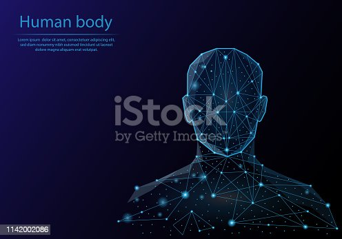 Abstract image human body in the form of a starry sky or space, consisting of points, lines, and shapes in the form of planets, stars and the universe. Low poly vector background.