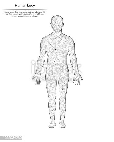 Abstract image human body in the form of lines and dots, consisting of triangles and geometric shapes. Low poly vector background.