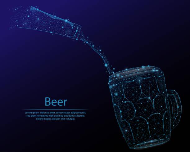 abstraktes bild einen bierkrug und flasche in form von einem sternenhimmel oder raum, bestehend aus punkten, linien und formen in form eines planeten, sterne und das universum. - hochschulgetränke stock-grafiken, -clipart, -cartoons und -symbole