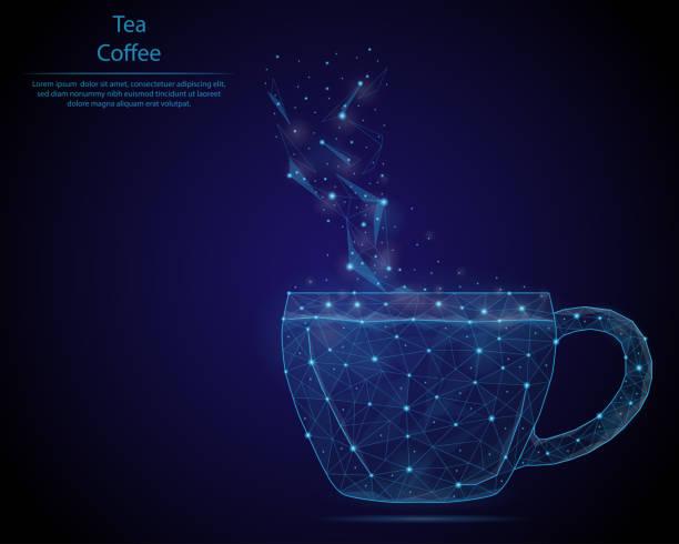 abstraktes bild einer tasse in form von einem sternenhimmel oder raum, bestehend aus punkten, linien und formen in form eines planeten, sterne und das universum. low-poly-vektor-hintergrund. - hochschulgetränke stock-grafiken, -clipart, -cartoons und -symbole