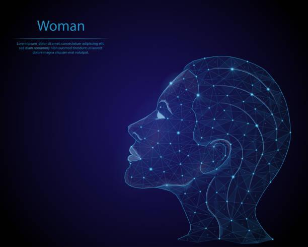 bildbanksillustrationer, clip art samt tecknat material och ikoner med abstrakt bild av en flicka i form av en stjärnhimmel eller utrymme, som består av punkter, linjer och former i form av planeter, stjärnor och universum. låg poly vector bakgrund. - kvinna ansikte glow