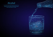 Abstract image of a Glass of whisky in the form of a starry sky or space, consisting of points, lines, and shapes in the form of planets, stars and the universe. Low poly vector background.