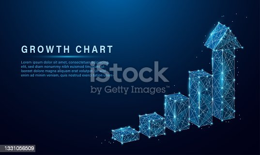 istock Abstract image of a growth chart in glowing blue. Low polygon, particle, and triangle style design.Wireframe light connection structure. Vector wireframe concept. 1331056509
