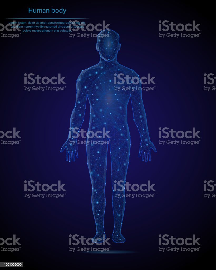 Abstract image of a human body in the form of a starry sky or space, consisting of points, lines, and shapes in the form of planets, stars and the universe. Low poly vector background. royalty-free abstract image of a human body in the form of a starry sky or space consisting of points lines and shapes in the form of planets stars and the universe low poly vector background stock illustration - download image now