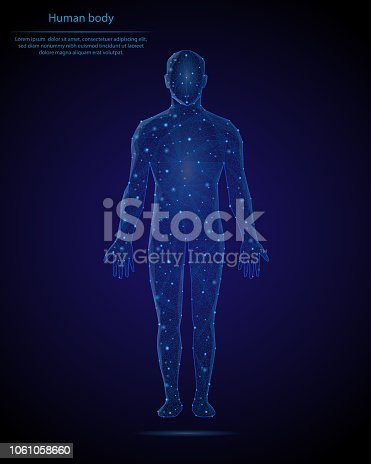 Abstract image of a human body in the form of a starry sky or space, consisting of points, lines, and shapes in the form of planets, stars and the universe. Low poly vector background.