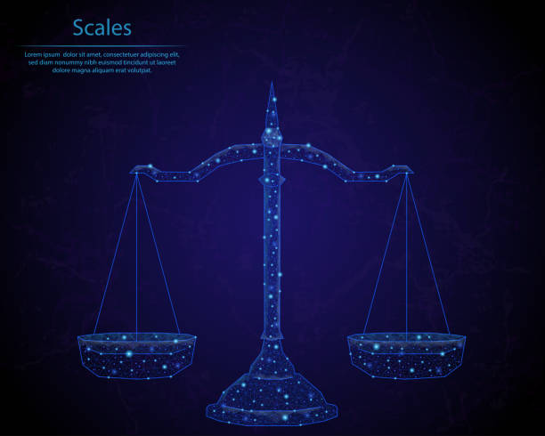 illustrazioni stock, clip art, cartoni animati e icone di tendenza di abstract image of a scales in the form of a starry sky or space, consisting of points, lines, and shapes in the form of planets, stars and the universe. low poly vector background. - balance graphics