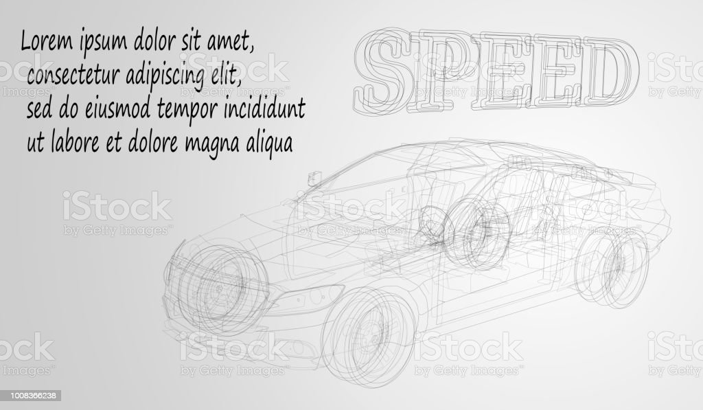 Abstract Image Of A Sport Car In The Form Of A Black And White