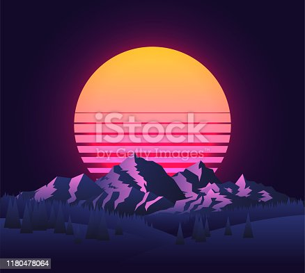 Abstract image of a sunset, the dawn sun over the mountains landscape in the background and trees in the foreground. Vintage futuristic 90's sun. Mountain landscape. Vector eps 10  illustration.
