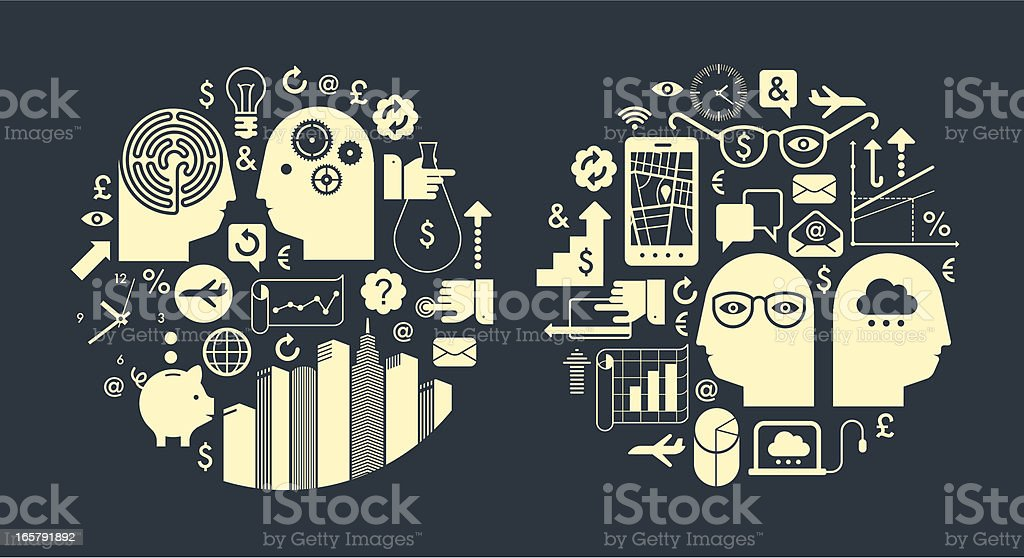 Abstract image of business symbols royalty-free stock vector art