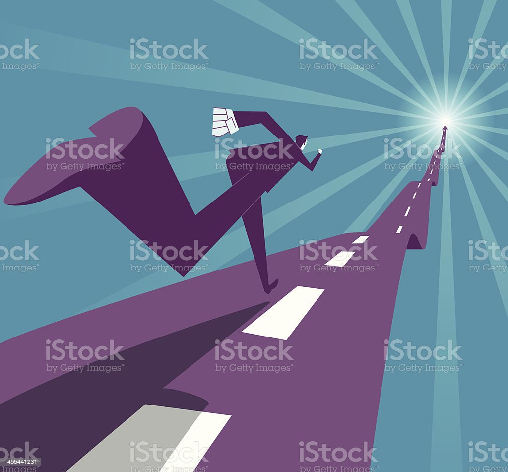 Abstract image of businessman running on a road vector art illustration