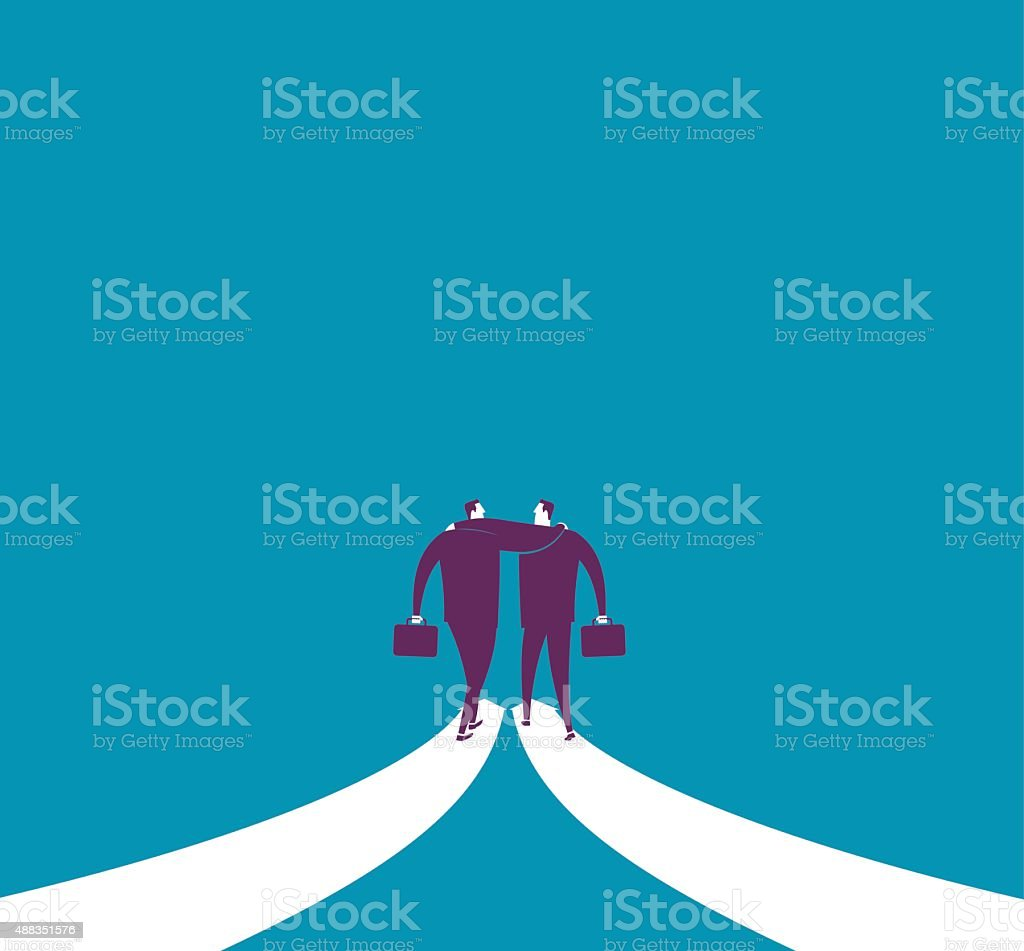 Abstract image of businessman walking together on arrows vector art illustration