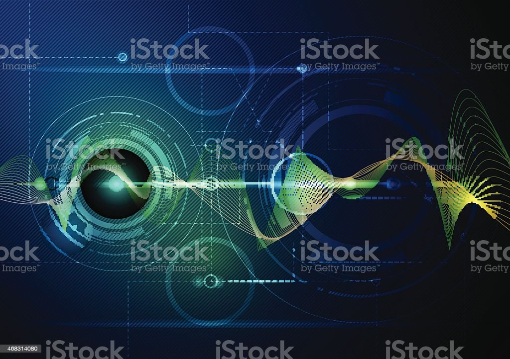 Abstract image of digital wave technology vector art illustration