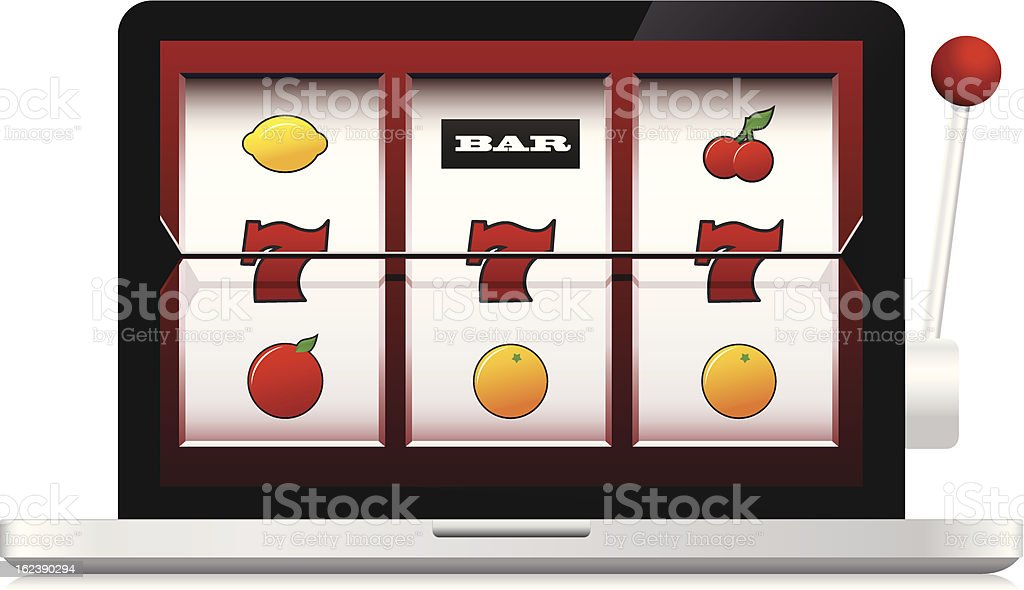 Abstract image of laptop online casino slot machine vector art illustration