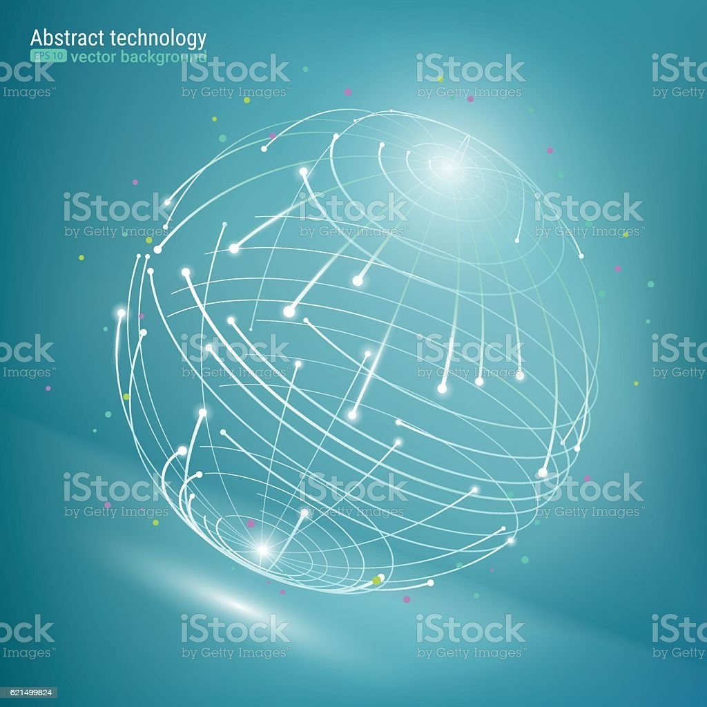 Abstract image of the globe. Wire-frame mesh polygonal element. vector art illustration