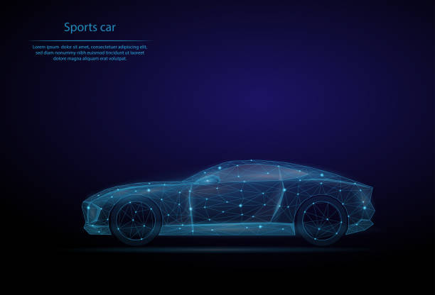 abstract image sports car in the form of a starry sky or space, consisting of points, lines, and shapes in the form of planets, stars and the universe. 3d low poly vector background. transport vehicle - wire frame model stock illustrations