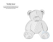 Abstract image teddy bear in the form of lines, consisting of triangles and geometric shapes. Low poly vector background.