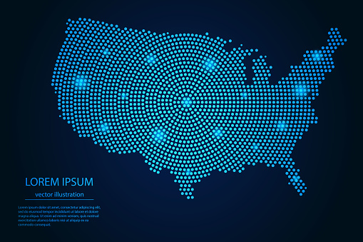 Abstract image United States of America map from point blue and glowing stars on a dark background. vector illustration.