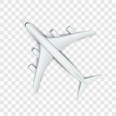 Abstract Imaginary White Big Airplane On Transparent Background. EPS10 Vector
