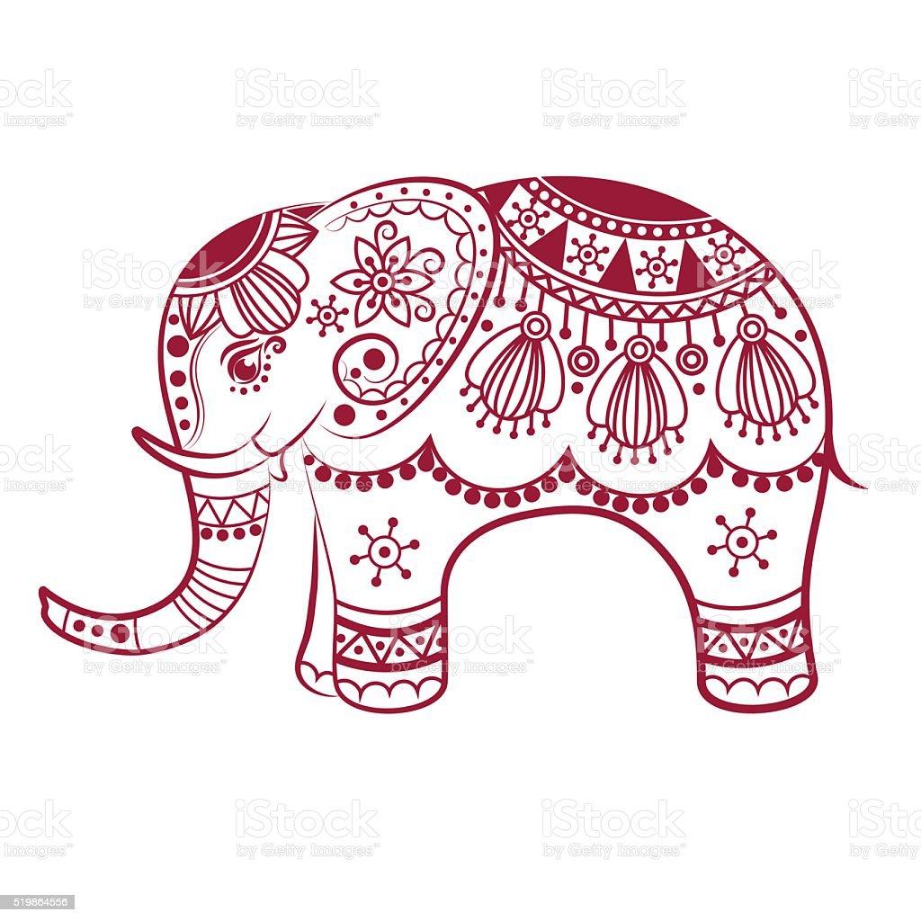 Ilustración de Resumen Elefante Indio y más banco de imágenes de ...