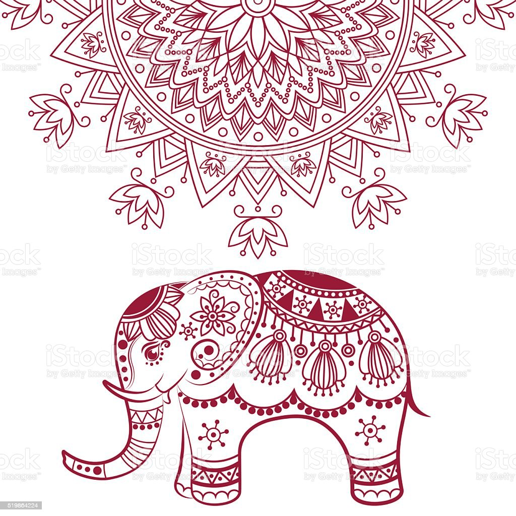 Abstract Indian Elephant With Mandala Stock Vector Art 519864224