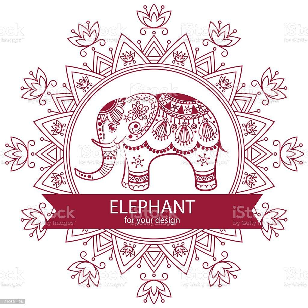 Ilustración de Resumen Elefante Indio Con Mandala y más banco de ...